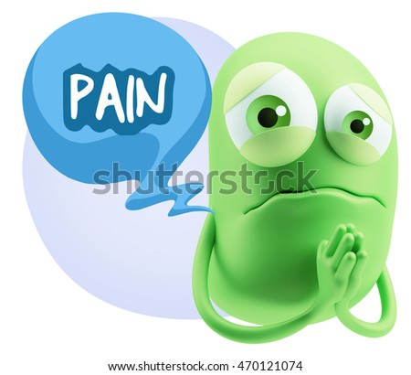 3d Rendering Sad Character Emoticon Expression saying Pain with Colorful Speech Bubble.