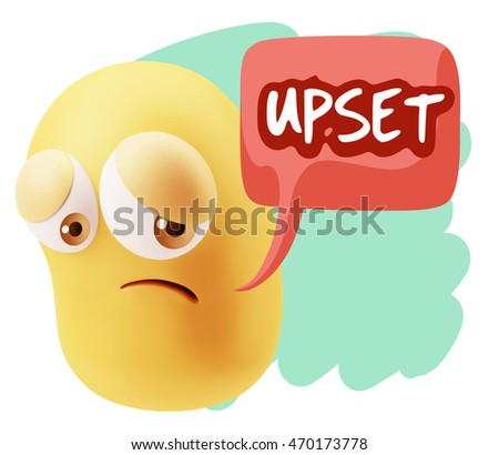 3d Rendering Sad Character Emoticon Expression saying Upset with Colorful Speech Bubble.