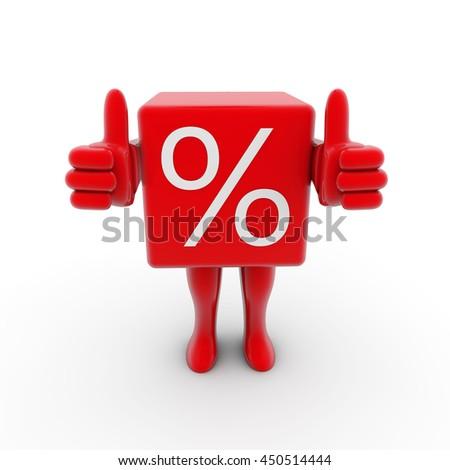 3d Rendering sale cube figure - stock photo