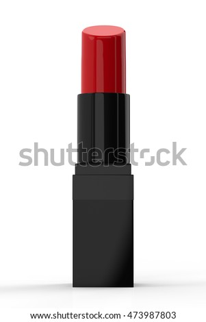 3d rendering shiny red lipstick on white background
