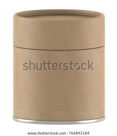 3D rendering short kraft paper tube packaging mock up on white background