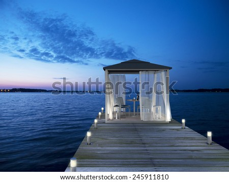 3D rendering showing a fictitious seaside pavilion - stock photo