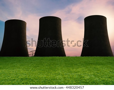 3d rendering silhouette nuclear power plant