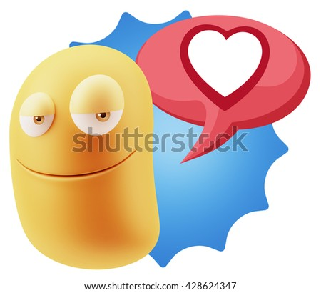 3d Rendering Smile Character Emoticon Expressing Love with a Heart Shape in a Colorful Speech Bubble