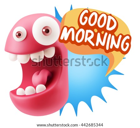 3d Rendering Smile Character Emoticon Expression saying Good Morning with Colorful Speech Bubble. - stock photo