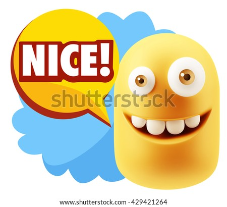 3d Rendering Smile Character Emoticon Expression saying Nice with Colorful Speech Bubble