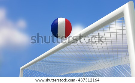 3D Rendering,Soccer Euro,Football France flag shooting top triangle goal with blurred blue sky background.