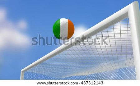 3D Rendering,Soccer Euro,Football Republic of Ireland flag shooting top triangle goal with blurred blue sky background.
