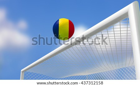 3D Rendering,Soccer Euro,Football Romania flag shooting top triangle goal with blurred blue sky background.