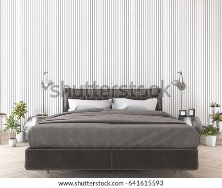 3d rendering soft and comfortable bed near white wood wall