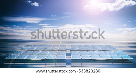 3d rendering solar panels on blue sea and sky background