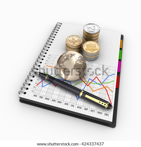 3D rendering spiral notebook with US coins. Banking, loans, mortgages, debts, finance, return on investment.