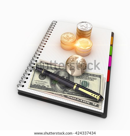 3D rendering spiral notebook with US currency. Banking, loans, mortgages, debts, investments, financing, finance, return on investment. Stacks of US currency for finance and banking. - stock photo