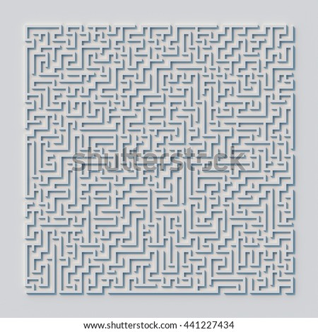 3d rendering square labyrinth shape concept