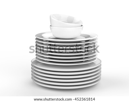 3d rendering stack of clean dishes