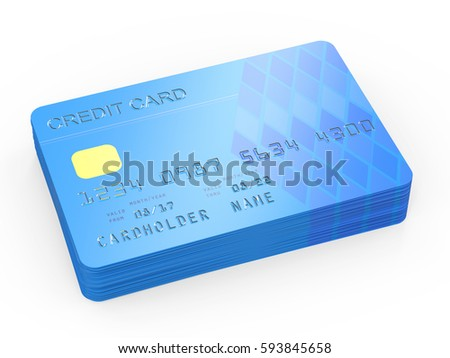 3d rendering stack of credit card on white background