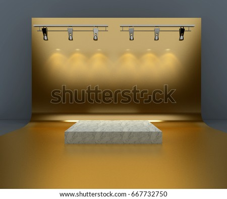 3d Rendering Studio Background - Gold