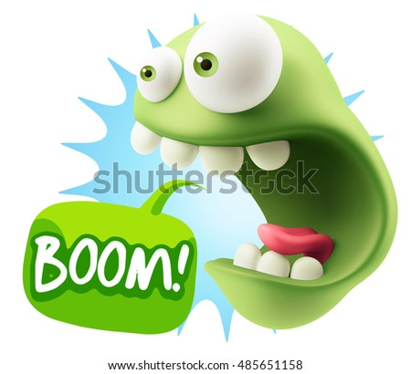 3d Rendering Surprise Character Face Emoticon saying Boom with Colorful Speech Bubble.