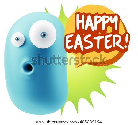 3d Rendering Surprise Character Face Emoticon saying Happy Easter with Colorful Speech Bubble.
