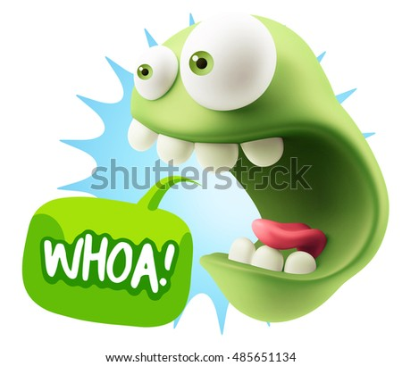 3d Rendering Surprise Character Face Emoticon saying Whoa with Colorful Speech Bubble.