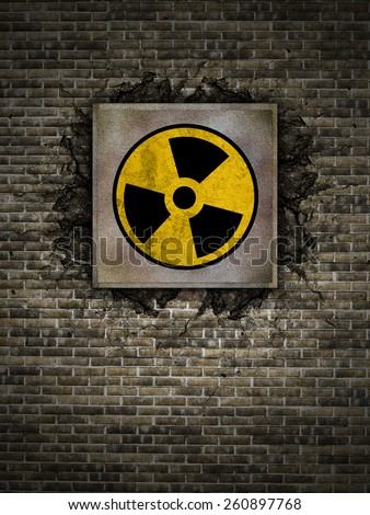 3d rendering symbol of nuclear danger on an old wall - stock photo