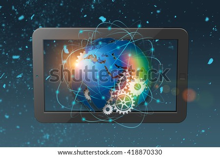 3D rendering technology abstract background, concept of global communication.  - stock photo
