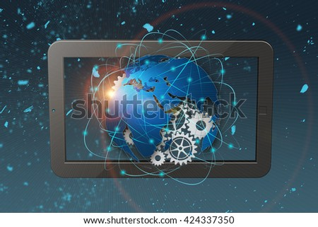 3D rendering technology abstract background, concept of global communication. Globalization concept. - stock photo