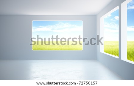 3d rendering the empty office room - stock photo