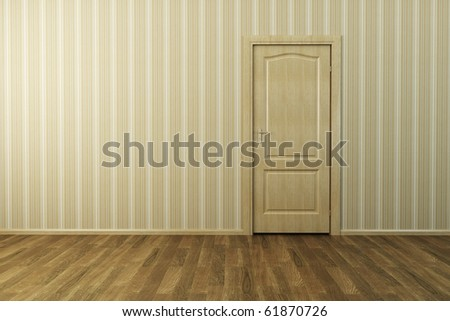 3d rendering the empty room with door - stock photo
