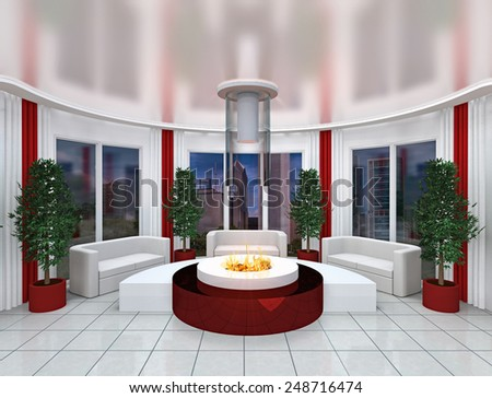 3D rendering. The modern office room issued in white-red tones. With a big round fireplace. - stock photo