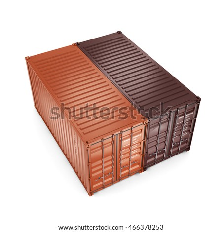 3D rendering the ship a containers on a white background on a white background
