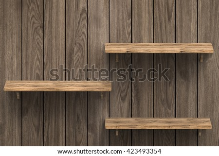 3d rendering three wooden shelves on wooden background