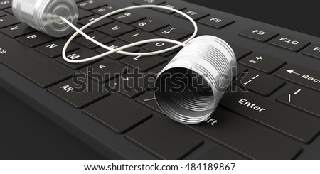 3d rendering tin cans telephone on a black keyboard