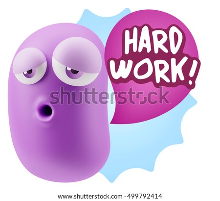 3d Rendering Tired Character Emoticon Expression saying Hard work with Colorful Speech Bubble.