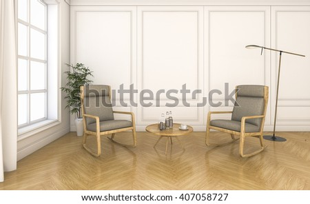 3d rendering vintage living room with rocking chair