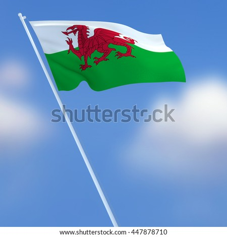 3D Rendering, Wales flag with blue sky background.