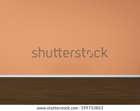 3D Rendering wall and wood floor mock up, illustration interior