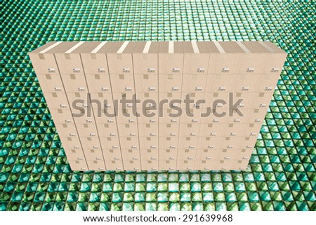 3d rendering warehouse boxes - stock photo