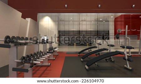3d rendering. Weight Training Equipment in gym room
