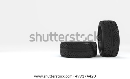 3d rendering wheel and tire in white background