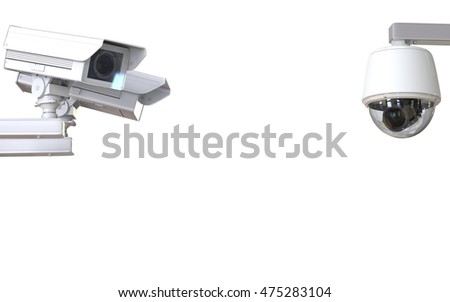 3d rendering white cctv camera or security camera isolated on white