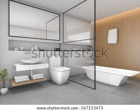 3d rendering white hexagon tile bathroom with wood decor