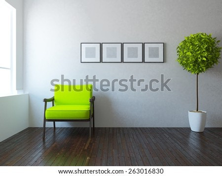 3d rendering white interior of a living room