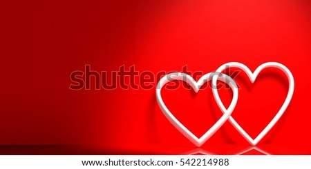 3d rendering white joined hearts on red background