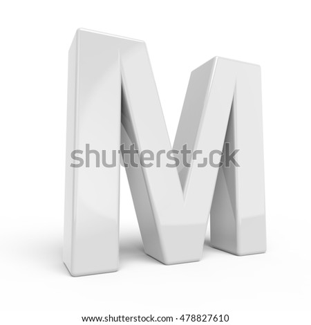 3D rendering white letter M isolated on white background