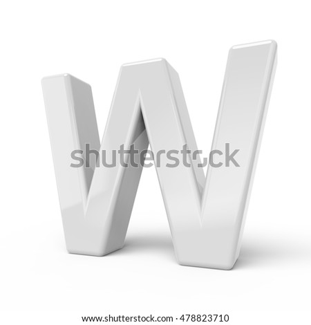 3D rendering white letter W isolated on white background