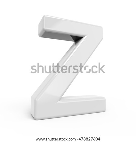 3D rendering white letter Z isolated on white background