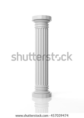 3d rendering white marble pillar on white background