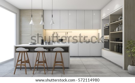 3d Rendering White Modern Design Kitchen With Lamp Part 95