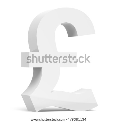 3D rendering white pound sign isolated on white background